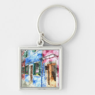 Burano Italy Buildings - Digital Art Watercolor Silver-Colored Square Keychain