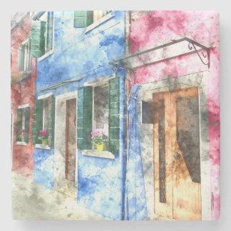 Burano Italy Buildings - Digital Art Watercolor Stone Beverage Coaster