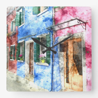 Burano Italy Buildings - Digital Art Watercolor Wallclock