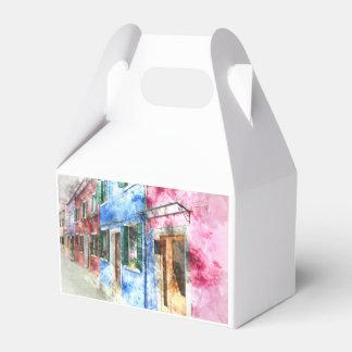 Burano Italy Buildings - Digital Art Watercolor Wedding Favor Boxes