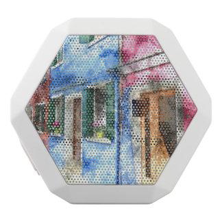 Burano Italy Buildings - Digital Art Watercolor White Bluetooth Speaker