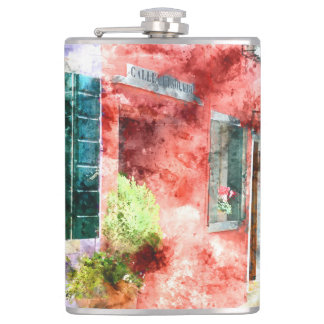 Burano Italy Buildings Flask