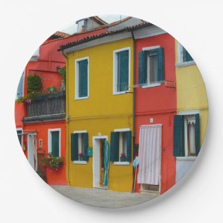 Burano Italy Buildings Paper Plate