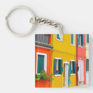 Burano Italy Buildings Single-Sided Square Acrylic Keychain