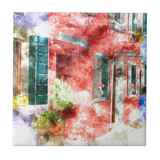 Burano Italy Buildings Tile
