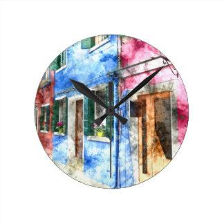 Burano Italy Buildings Wall Clock
