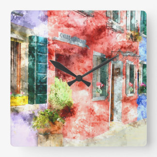 Burano Italy Buildings Wallclock