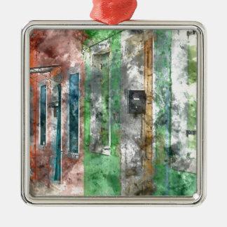 Burano Italy Homes near Venice Italy Silver-Colored Square Ornament