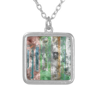 Burano Italy Homes near Venice Italy Silver Plated Necklace