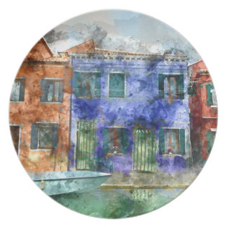 Burano  near Venice Italy  island canal with small Dinner Plate