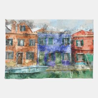 Burano  near Venice Italy  island canal with small Hand Towel