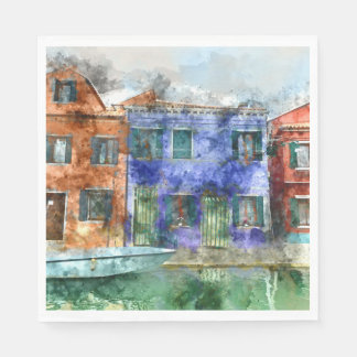 Burano  near Venice Italy  island canal with small Paper Napkins