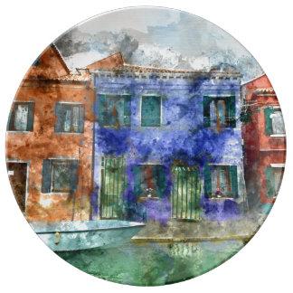 Burano  near Venice Italy  island canal with small Porcelain Plates
