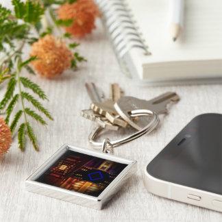 Burbandy Silver-Colored Square Keychain