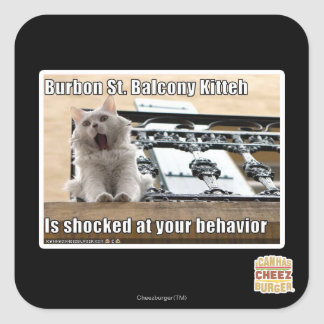 Burbon St. Balcony Kitteh Square Sticker