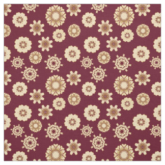 Burgandy and Gold Baroque Style Floral Pattern Fabric