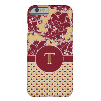 Burgandy and Gold Damask Monogram Barely There iPhone 6 Case