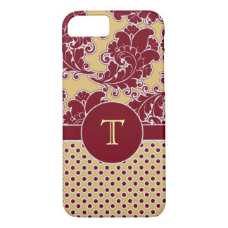Burgandy and Gold Damask Monogram iPhone 7 Case