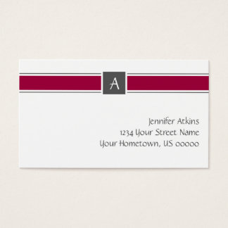 Burgandy and Gray Monogram Business Card