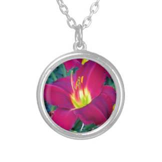 Burgandy Lilies Silver Plated Necklace