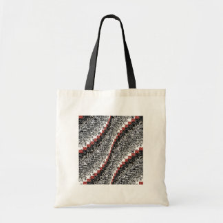 Burgello Quilt Pattern Customize Red Black Tote Bag