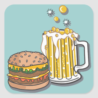 Burger and a Brew Square Sticker