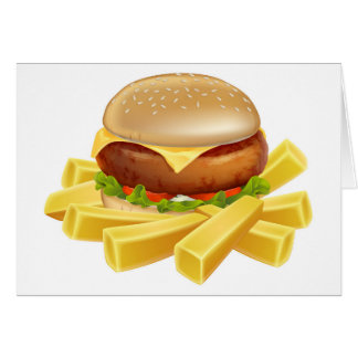 Burger and chips or french fries card