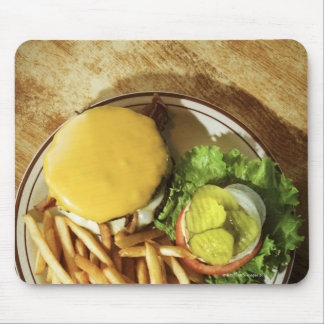 Burger and french fries mouse pad