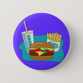 Burger and Fries 2 Inch Round Button