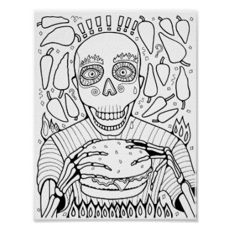Burger Cardstock Adult Coloring Page Poster