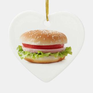 burger ceramic ornament