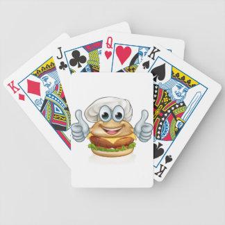 Burger Chef Food Cartoon Character Mascot Bicycle Playing Cards