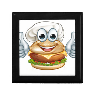 Burger Chef Food Cartoon Character Mascot Gift Box