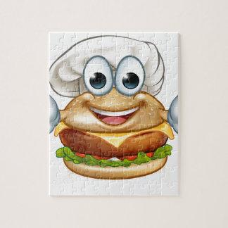 Burger Chef Food Cartoon Character Mascot Jigsaw Puzzle