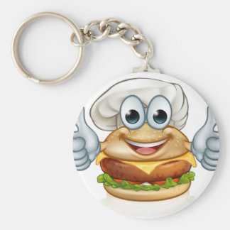 Burger Chef Food Cartoon Character Mascot Keychain