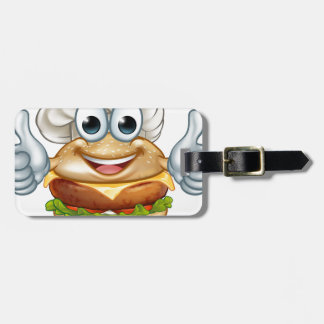 Burger Chef Food Cartoon Character Mascot Luggage Tag