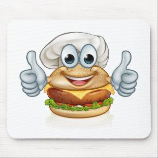 Burger Chef Food Cartoon Character Mascot Mouse Pad