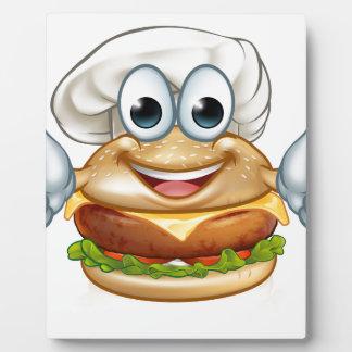 Burger Chef Food Cartoon Character Mascot Plaque