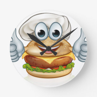 Burger Chef Food Cartoon Character Mascot Round Clock