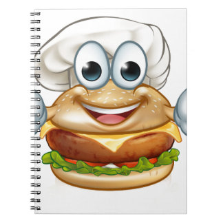 Burger Chef Food Cartoon Character Mascot Spiral Notebook