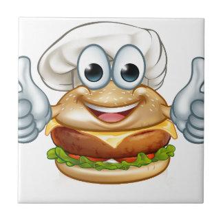 Burger Chef Food Cartoon Character Mascot Tile