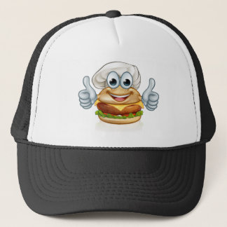 Burger Chef Food Cartoon Character Mascot Trucker Hat