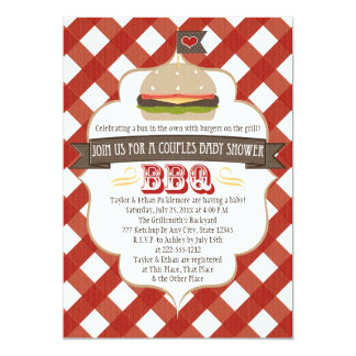 Burger Couples BBQ Baby Shower Invitations