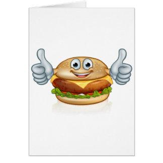 Burger Food Mascot Cartoon Character Card