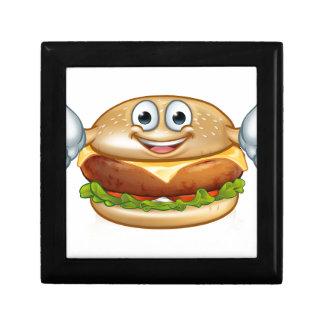 Burger Food Mascot Cartoon Character Gift Box