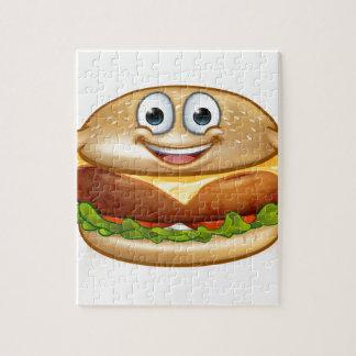 Burger Food Mascot Cartoon Character Jigsaw Puzzle
