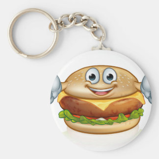 Burger Food Mascot Cartoon Character Keychain