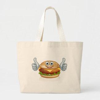Burger Food Mascot Cartoon Character Large Tote Bag