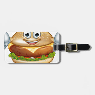 Burger Food Mascot Cartoon Character Luggage Tag