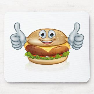 Burger Food Mascot Cartoon Character Mouse Pad